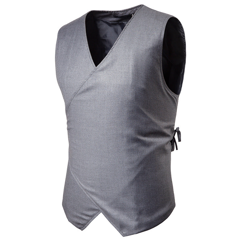 Mens Drawstring Button Casual Vest Suit | Fashion Concise Design Solid Color Sleeveless Male Waistcoat Plus 2XL