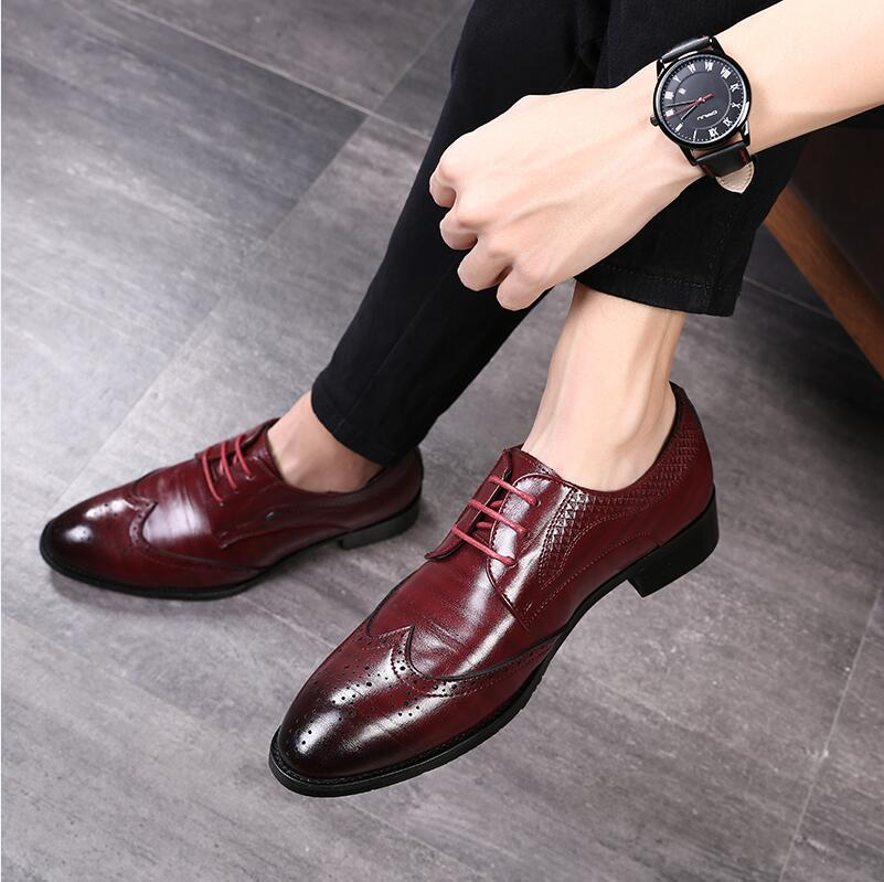 Costbuys  Mens Oxfords Shoe Formal Casual Shoes Men Summer Large Size 48 Lace-up Men Casual Shoes Red Oxfords Autumn Wedding Sho
