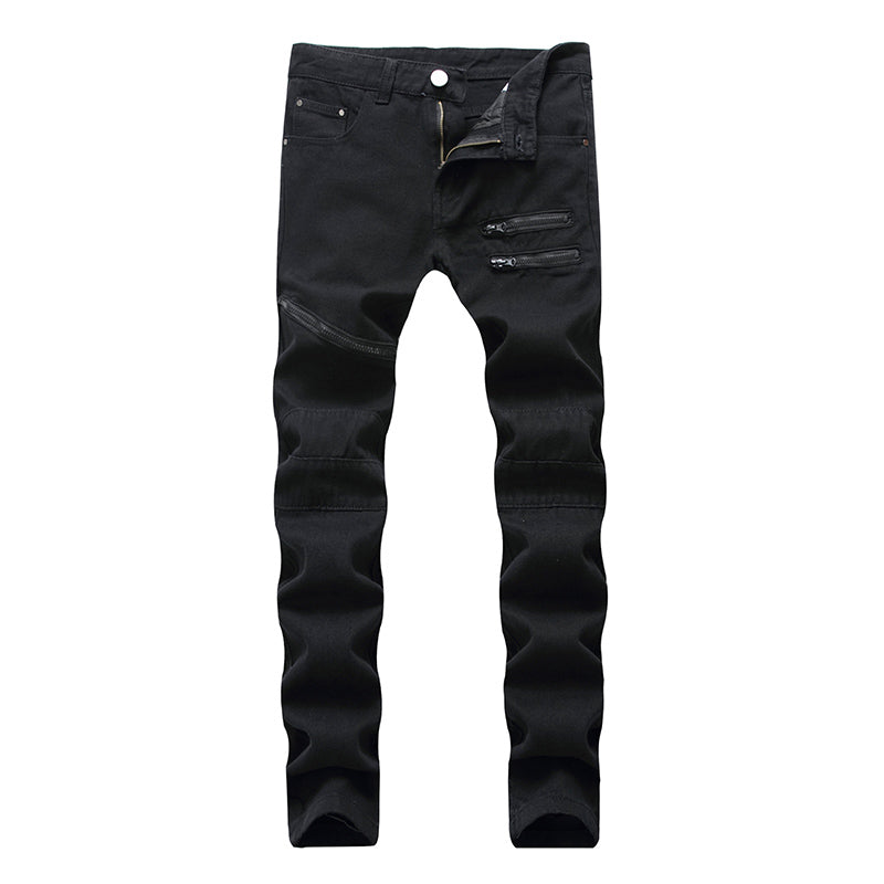 Costbuys  Mens Ripped Jeans Pants Black/white/red Multi Zipper Biker Washed Jeans Slim Fit Straight Denim Trousers for Men - Bla