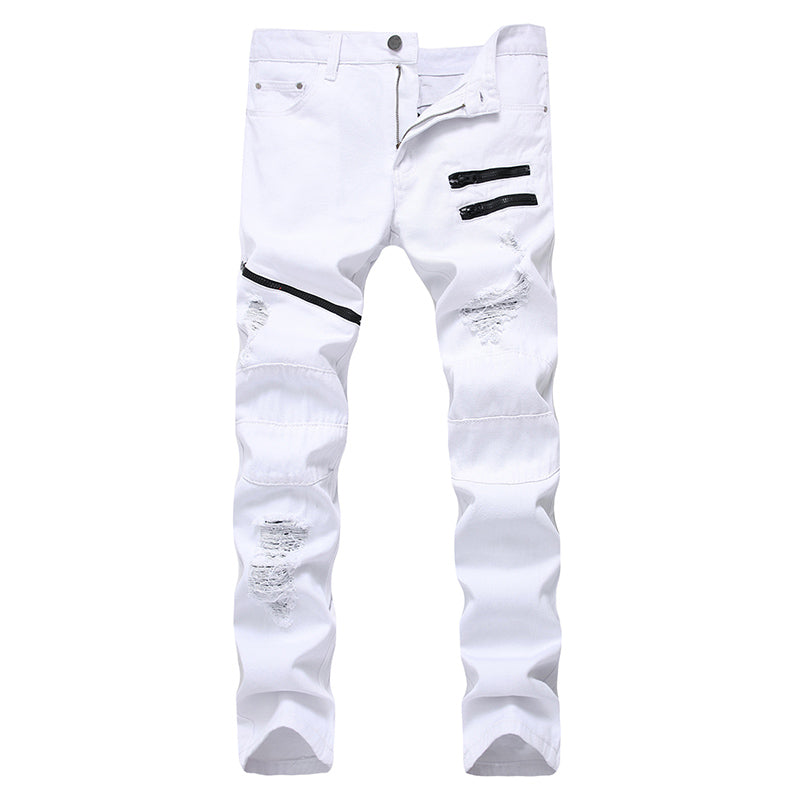 Costbuys  Mens Ripped Jeans Pants Black/white/red Multi Zipper Biker Washed Jeans Slim Fit Straight Denim Trousers for Men - Whi