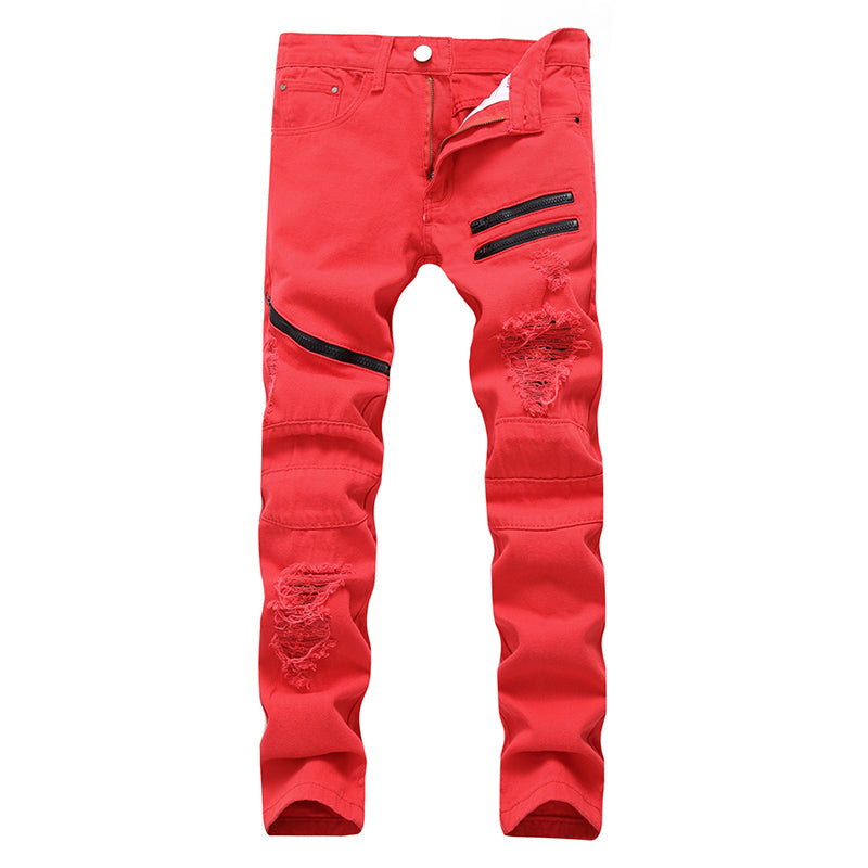 Costbuys  Mens Ripped Jeans Pants Black/white/red Multi Zipper Biker Washed Jeans Slim Fit Straight Denim Trousers for Men - Red