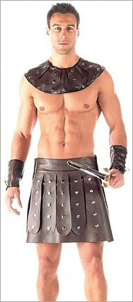 Costbuys  Mens Spartacus Roman Barbarian Gladiator Costume Halloween Costume for Men Acient Warrior Sexy Mens Costume - Coffee /