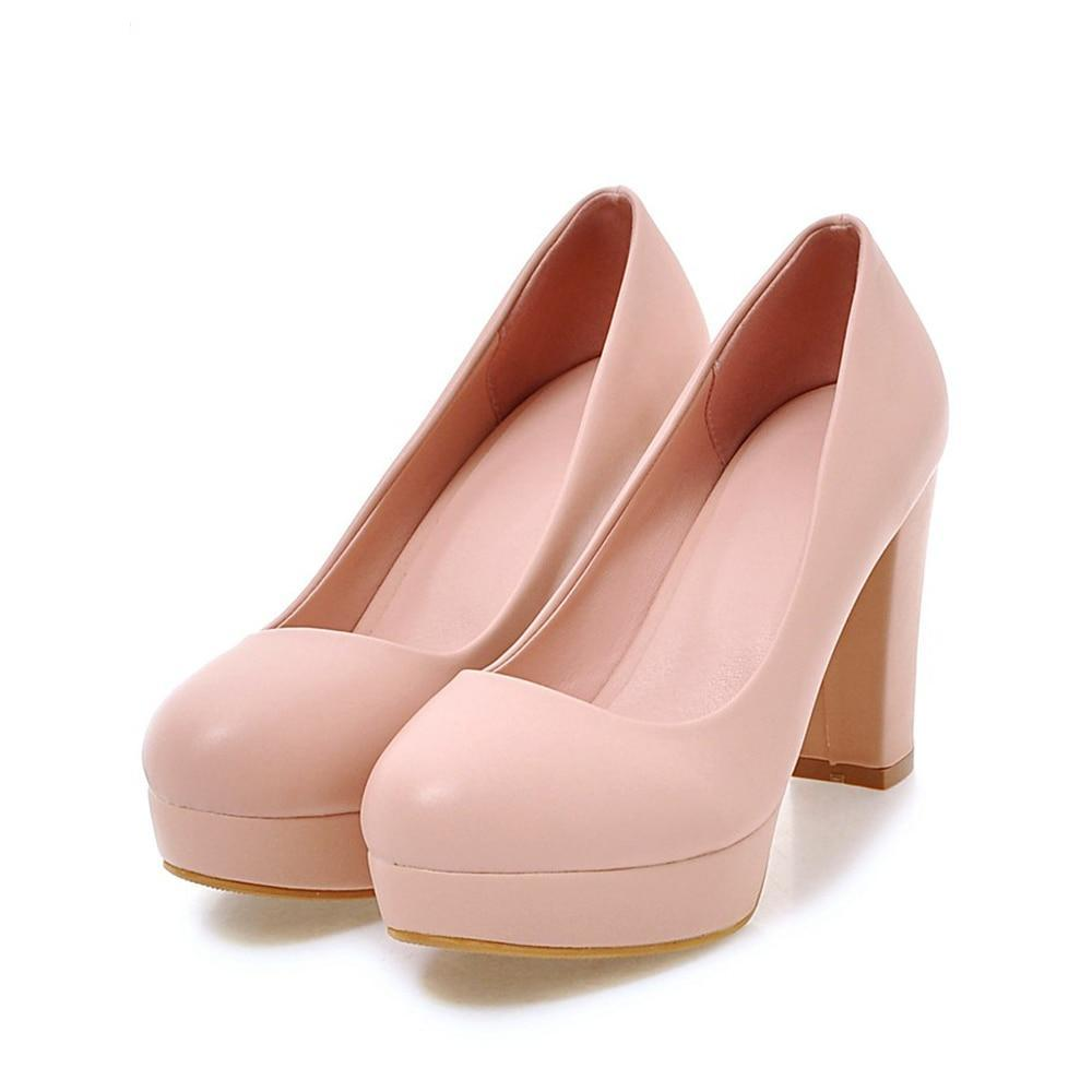 High Heels Wedding Shoes Women Bridal Thick Heels Spring Female Shoes Party Pumps Pink White Big Size 33-43