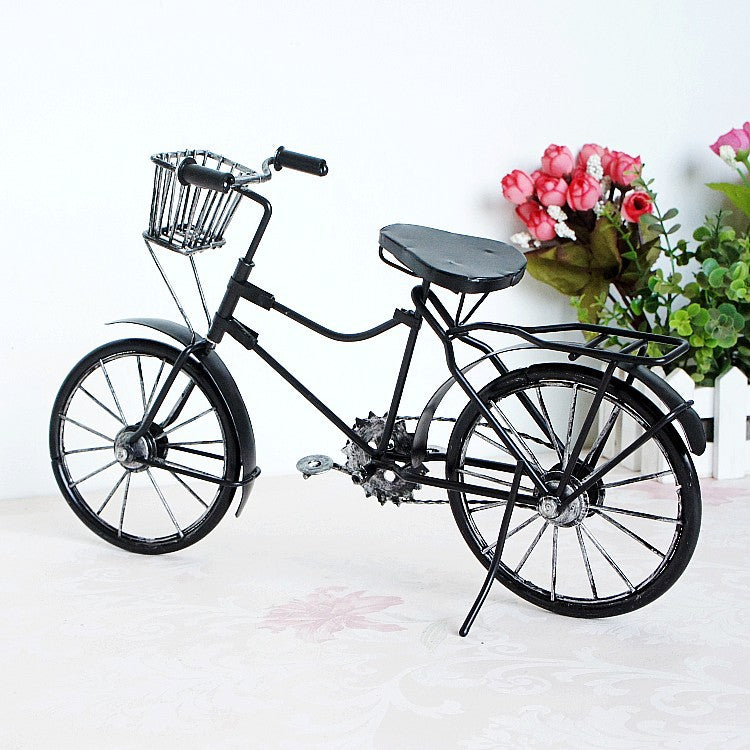 Costbuys  Metal Crafts Old Bicycle Model Vintage Old Bike Model Antique Bicycle Craft Ornaments Home Office Decoration - Red