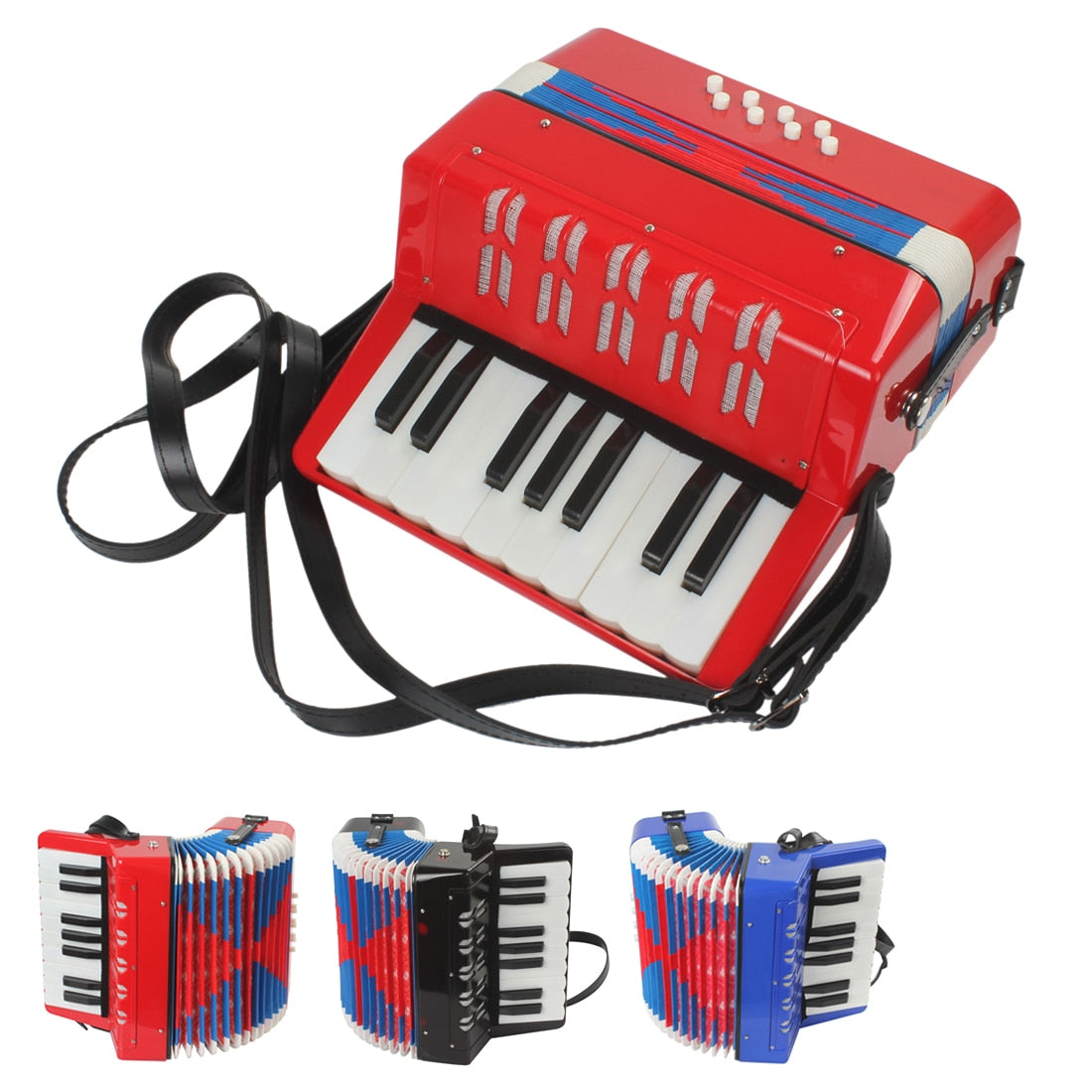 Costbuys  Mini 3 colors option Educational Musical Instrument 17-Key 8 Bass Toy Accordion for Kids Children - Red