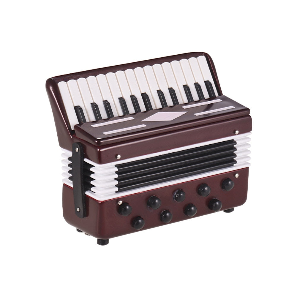 Costbuys  Mini Accordion Model Exquisite Desktop Musical Instrument Decoration Ornaments Musical Gift with Delicate Box