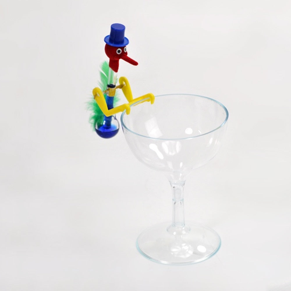 Costbuys  Mini Drinking Birds Toy with Glass Cup For Kids Retro Lucky Bobbing Bird Children Novelty Toys Festival Gift