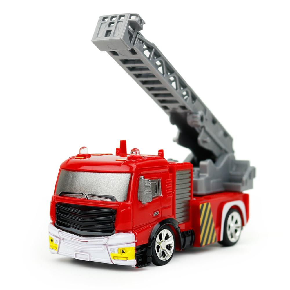 Costbuys  Mini Model Truck Diecast Fire Trucks Toy 1:58 Remote Control RC Water-Tank Cars with Light Funnny Model Toys for Child