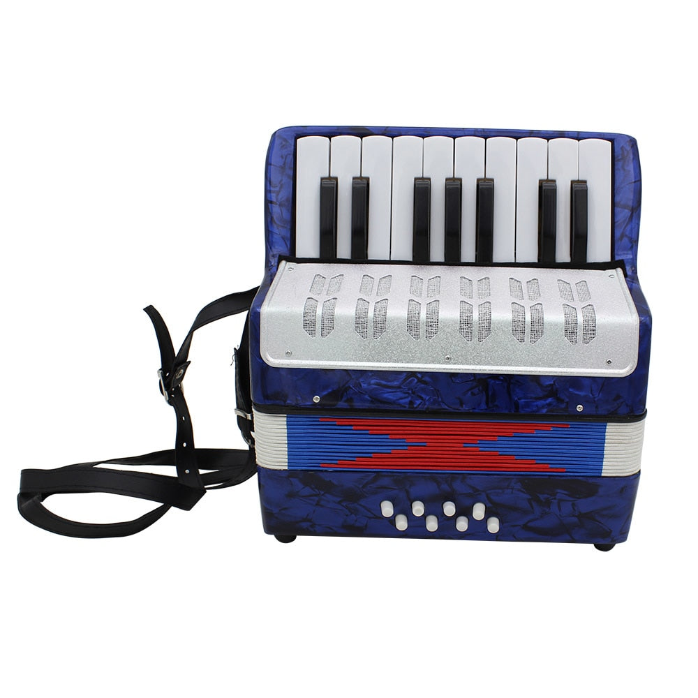 Costbuys  Mini Small 17-Key 8 Bass Accordion Educational Musical Instrument Toy for Kids Children Amateur Beginner Christmas Gif
