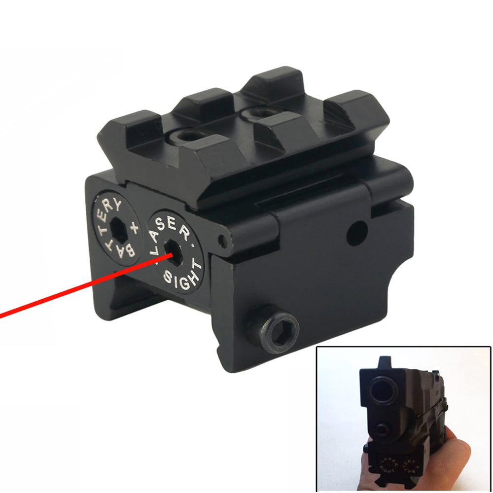 Costbuys  Mini Tactical Red Dot Laser sight Scope 650nm 300m 28x26mm DC 4.5V Dual Weaver For 20mm Rail Mount Compact