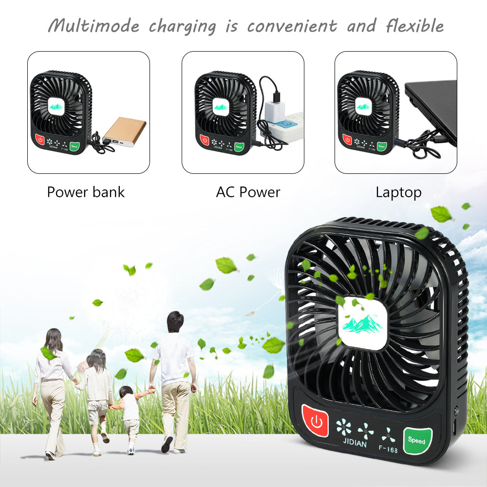 Costbuys  Mini USB Fan Rechargeable 3 Controllable Speed and LED Light Desk USB Fan Cooler Handy Brushless For Office School PC