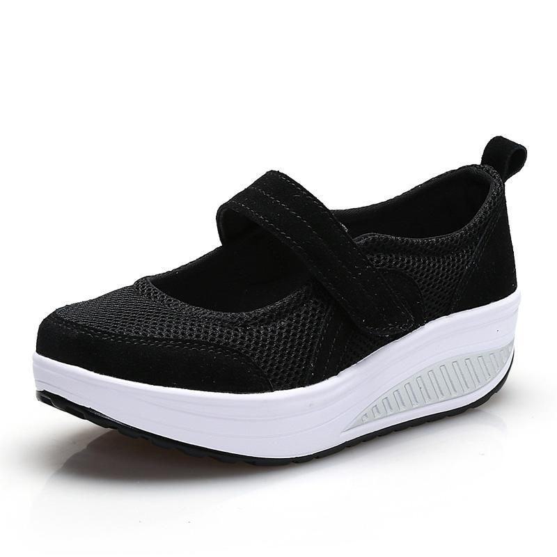 Costbuys  Fashion Mesh Breathable Shoes Lightweight Lose Weight Platform Casual Shoes Woman Healthy Fitness Swing Shoes - black