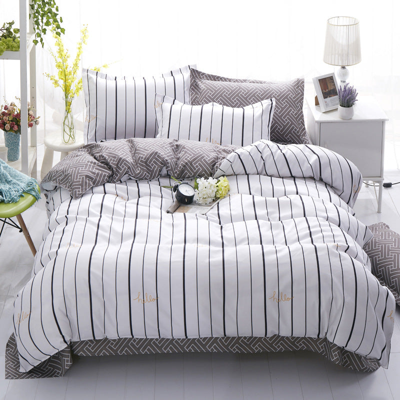 Costbuys  Modern Striped  Cheap bedding set bed linens 4pcs/set 4size duvet cover set Pastoral bed set kids / Adult bedding bedc