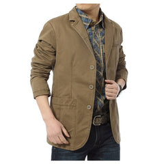 Autumn Casual Blazers Men Cotton Denim Casual Suits Jackets Military Army Green Khaki  Big Size M