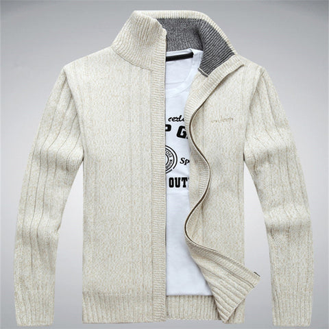 Style Men Sweater Men's Winter Thick Wool Coat Lapel Pullover
