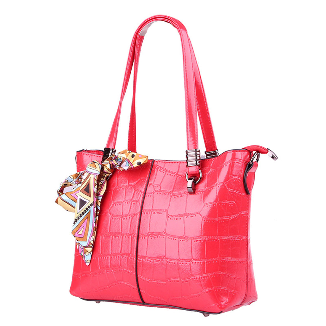 Costbuys  New Stone Pattern Women Bag Scarves Soft Leather Women Handbag  Luxury Shoulder Bag Female Top-Handle handbags - Red
