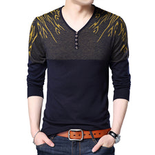 pullover mens sweater England style long mens knitted slim V-neck button sweaters pull homme size M-XXXL
