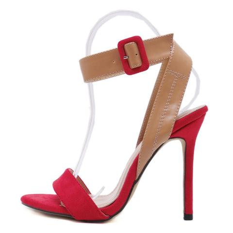 f98a2ff37ec2 High Quality Narrow Band Women Sandals Peep Toe Thin High Heels Sexy Summer  Ladies Red Wedding Shoes