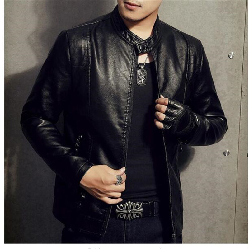 1df80c60ee80b PU Leather Jacket Men Black Red Brown Solid Mens Faux Fur Coats Trend –  Costbuys