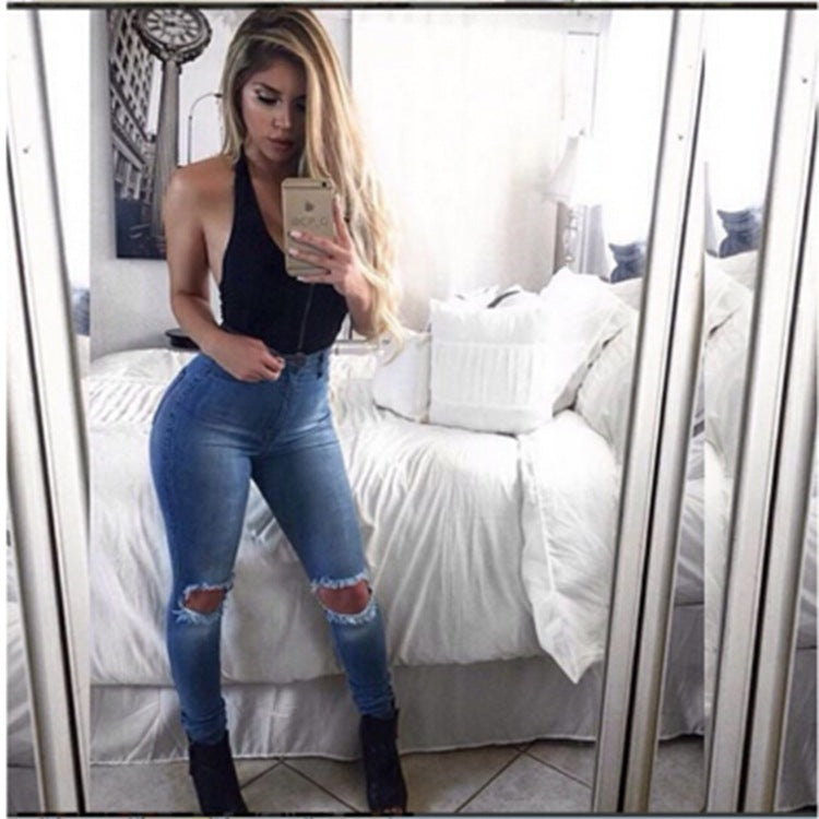 0f06d0878 New Skinny Jeans Women Denim Pants Holes Destroyed Knee Pencil Pants Casual  Trousers Black White Stretch