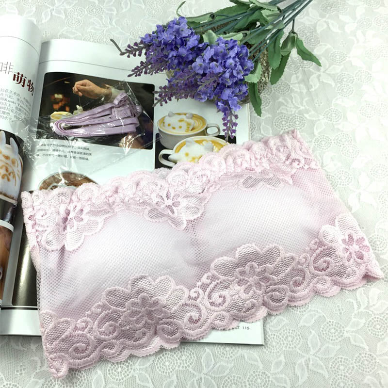 Costbuys  One Size Lace Floral Full Cup Strapless Wire Free Wrapped Chest Female Bras With Straps - Pink / One Size