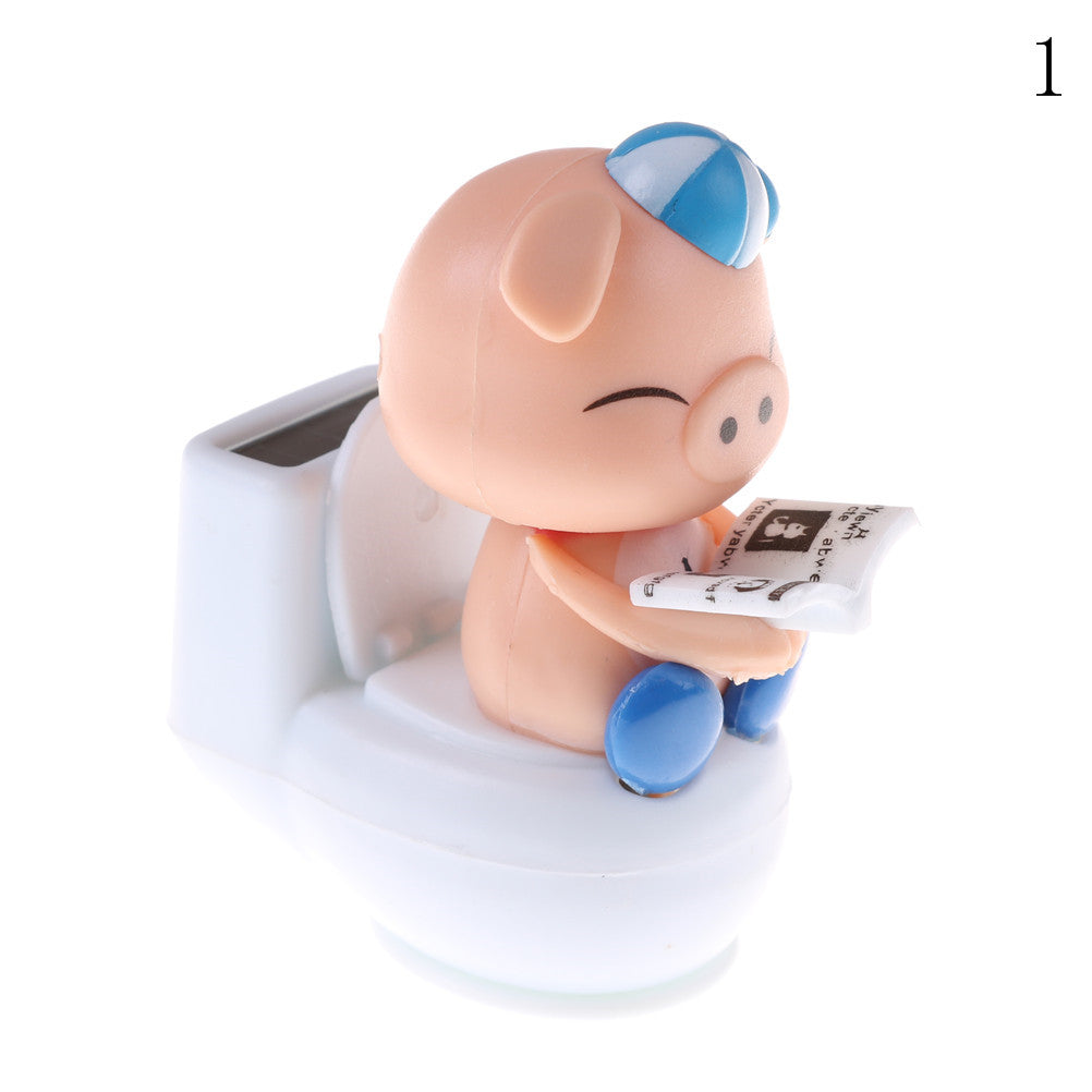 Costbuys  1pcs Solar Powered Bobble Head Pig Sitting On Toilet Home Car Ornament Kids Toy Blue Solar Toys - 1