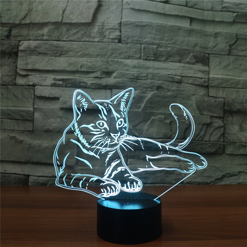 Costbuys  New Arrival USB Charged Night Light Animal Cat LED Table Desk Lamp Colors Changing Light Lifelike for Indoor Lamp Hous
