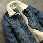 Autumn and Winter Men's Fashion Boutique Thick Wool Warm Thickening Denim Jacket Coat / Mens Slim Casual Jackets Coat