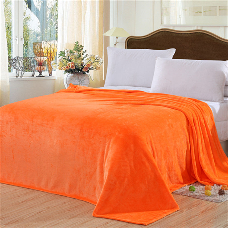 Costbuys  New Blanket Solid Warm and Super Soft Warm  Coral Fleece Blanket  150*200 200*230 - Orange / 150 x 200 cm