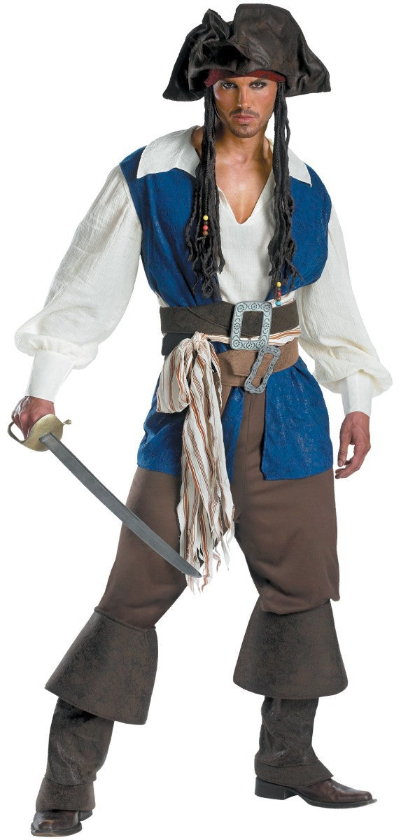 Costbuys  Pirate Costume Adult Men Halloween Party Wear Role Play Fancy Cosplay 7 Set Heritage Collection Costumes - as shown /
