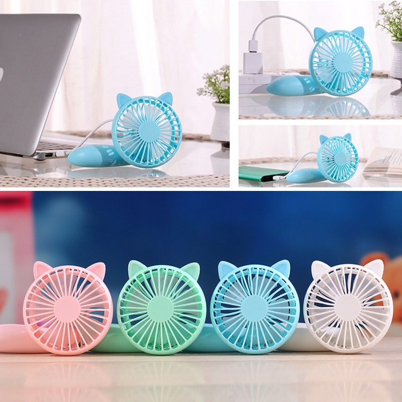 Costbuys  Cute Handheld Mini USB Fan Solid Color Totoro Squirrel Rechargeable Desk Fans For Home Office Travel Outdoor Portable