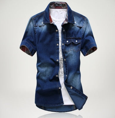 Costbuys  New Design Mens Summer Vintage Slim Denim Shirts Short Sleeve Casual Jeans Shirt - Dark blue / M