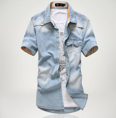 Costbuys  New Design Mens Summer Vintage Slim Denim Shirts Short Sleeve Casual Jeans Shirt - Light blue / XXL
