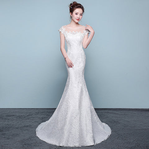 Lace Up Wedding Dresses Beads Lace Plus Size Bridal Dress – Costbuys