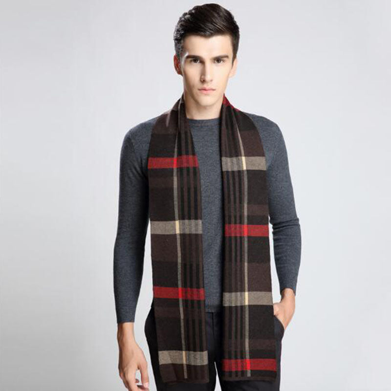 Fashion Men Scarf Man's Blend Wool Scarf Men Autumn Winter Warm Scarves Plaid Casual Leisure Scarves