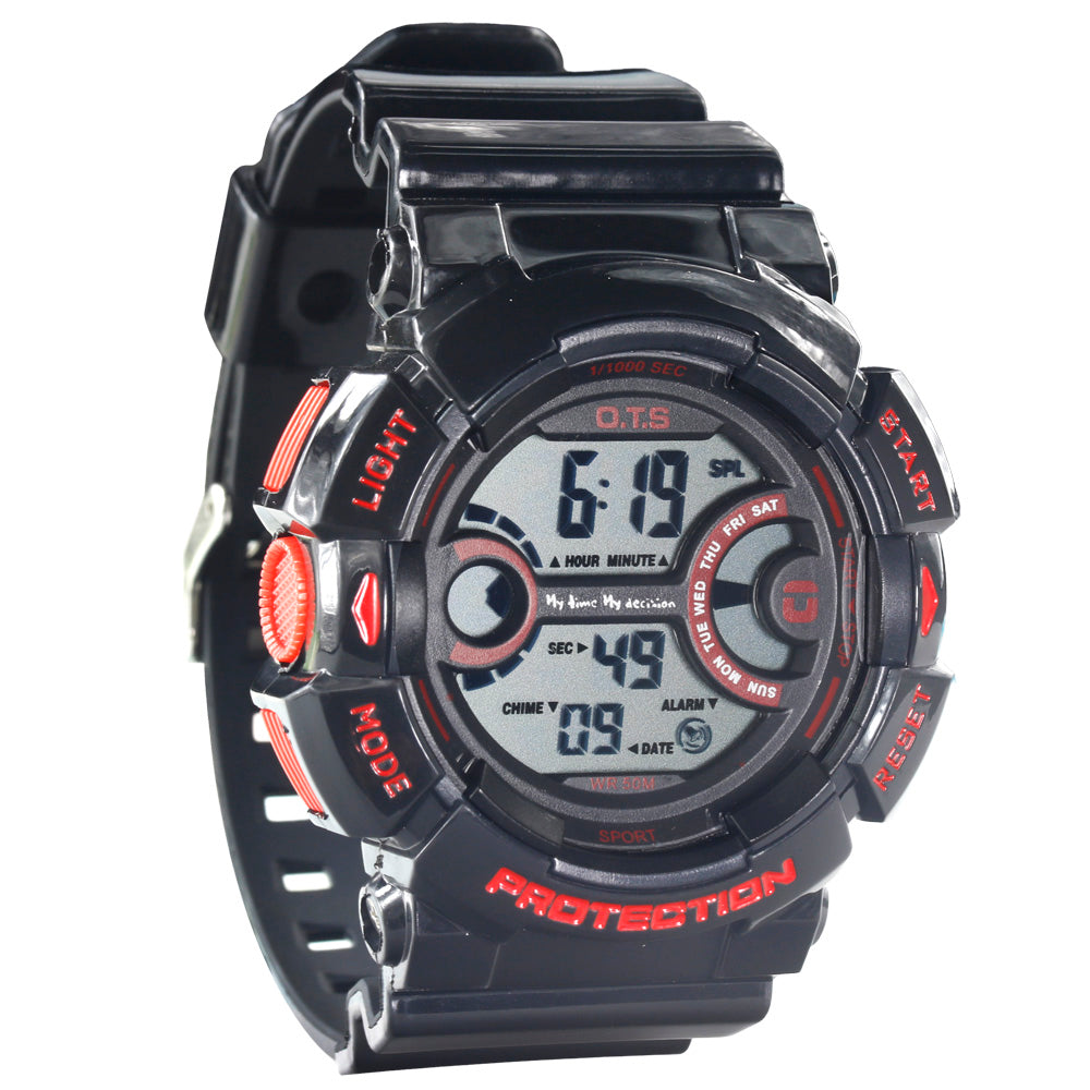 Costbuys  New Fashion Men's Clock Hour Waterproof Outdoor Man Sports Bright Black Digital Wrist Watch with Countdown and LED Bac