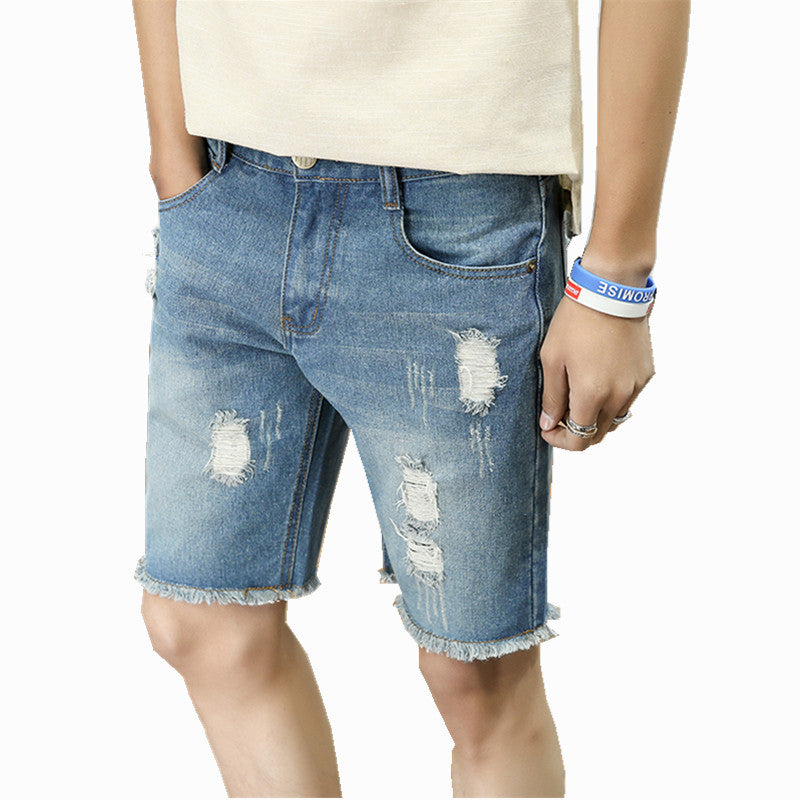 f2e82bbceaa Fashion Mens Ripped Short Jeans Hole Blend Clothing Bermuda Summer Ble –  Costbuys