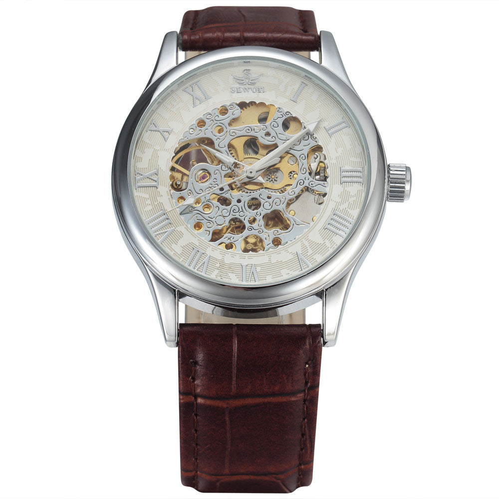 Costbuys  New Fashion Skeleton Watches Men Male Business Clock Leather Band Cool Dress Gold Mechanical Wrist Watch Gift - 3