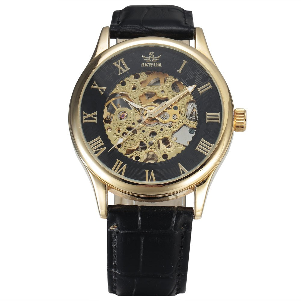 Costbuys  New Fashion Skeleton Watches Men Male Business Clock Leather Band Cool Dress Gold Mechanical Wrist Watch Gift - 4
