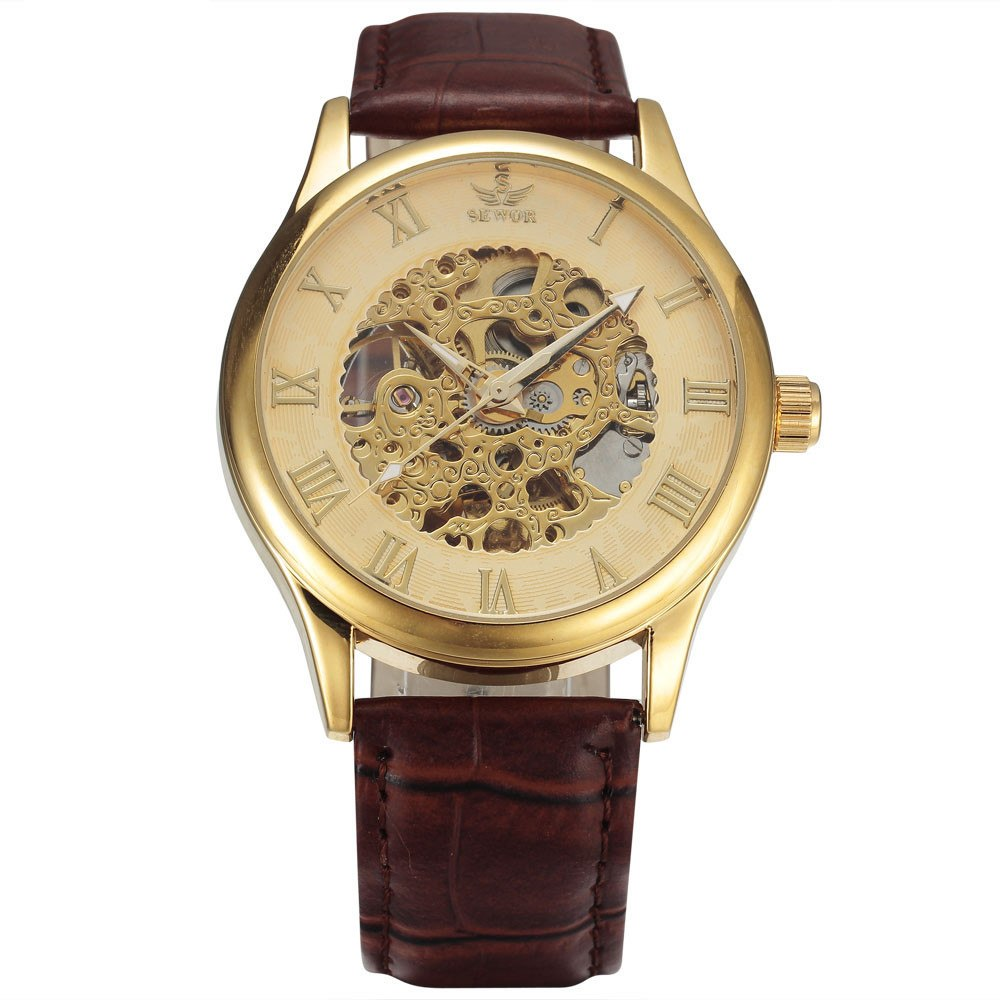 Costbuys  New Fashion Skeleton Watches Men Male Business Clock Leather Band Cool Dress Gold Mechanical Wrist Watch Gift - 1