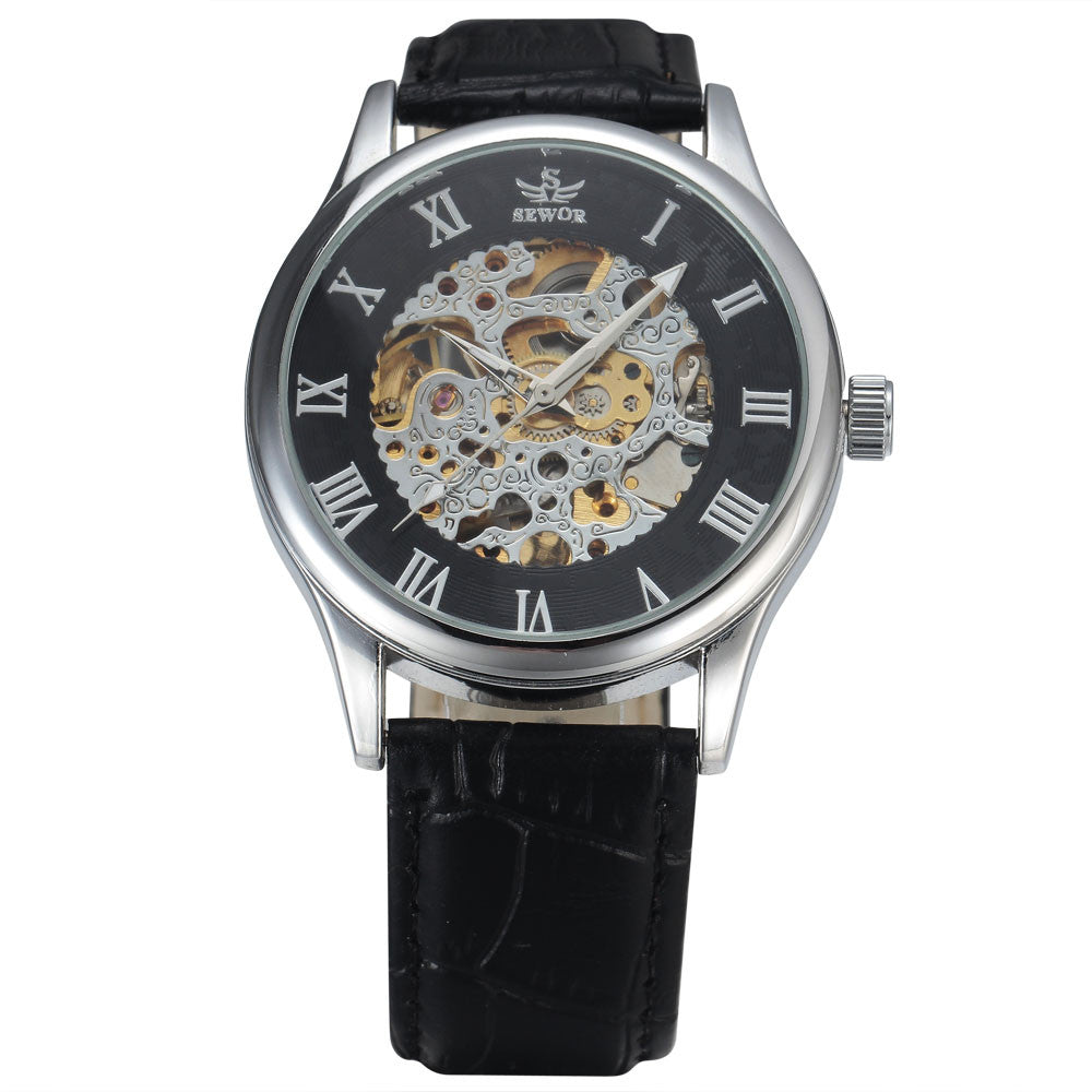 Costbuys  New Fashion Skeleton Watches Men Male Business Clock Leather Band Cool Dress Gold Mechanical Wrist Watch Gift - 5