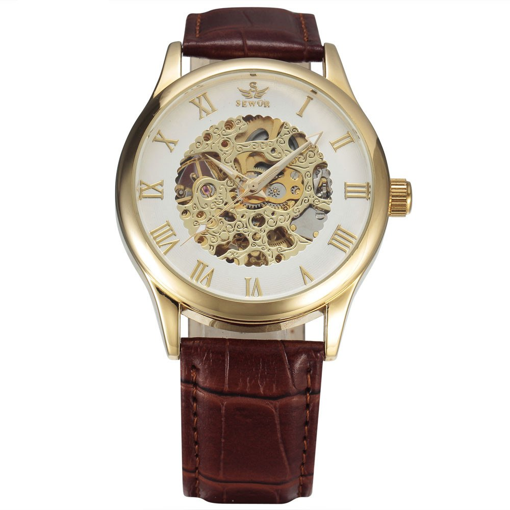 Costbuys  New Fashion Skeleton Watches Men Male Business Clock Leather Band Cool Dress Gold Mechanical Wrist Watch Gift - 2