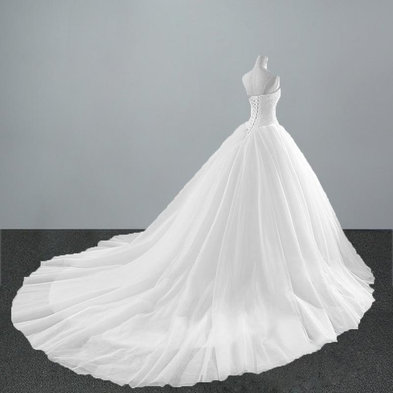 New Fashion Simple Classic Ball Gown Off White Wedding Dress Lace ...