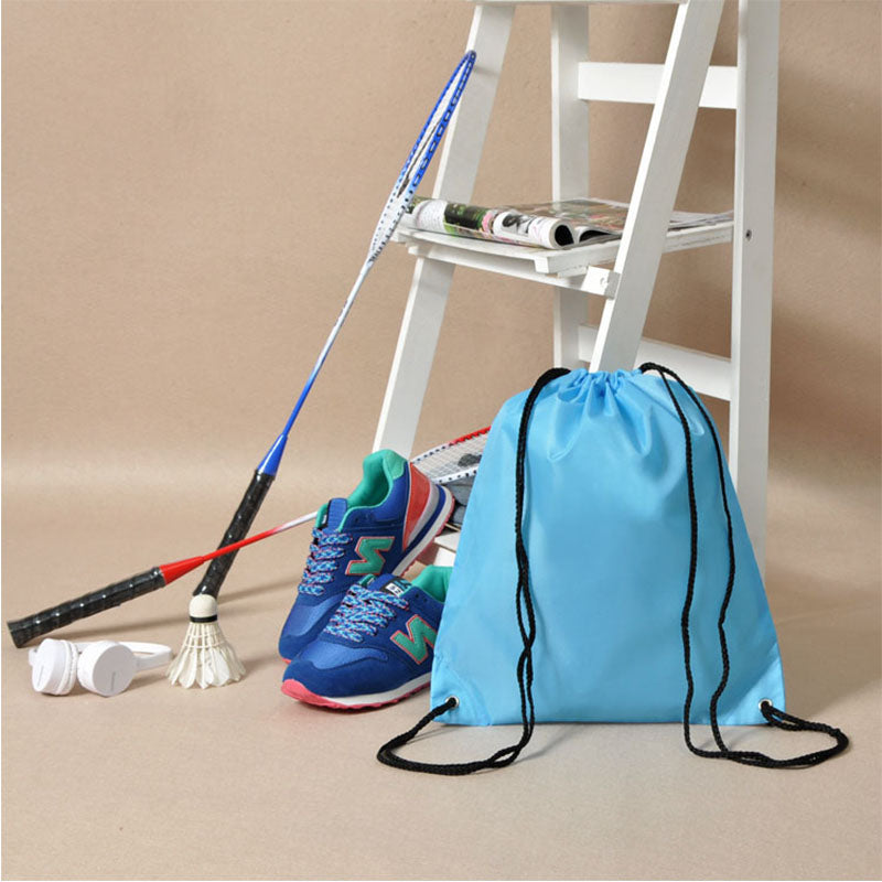 Costbuys  Gym Storage Bag Nylon Sports Drawstring Belt Riding Backpack Shoes Container Bag Clothes Organizer Waterproof - Sky Bl