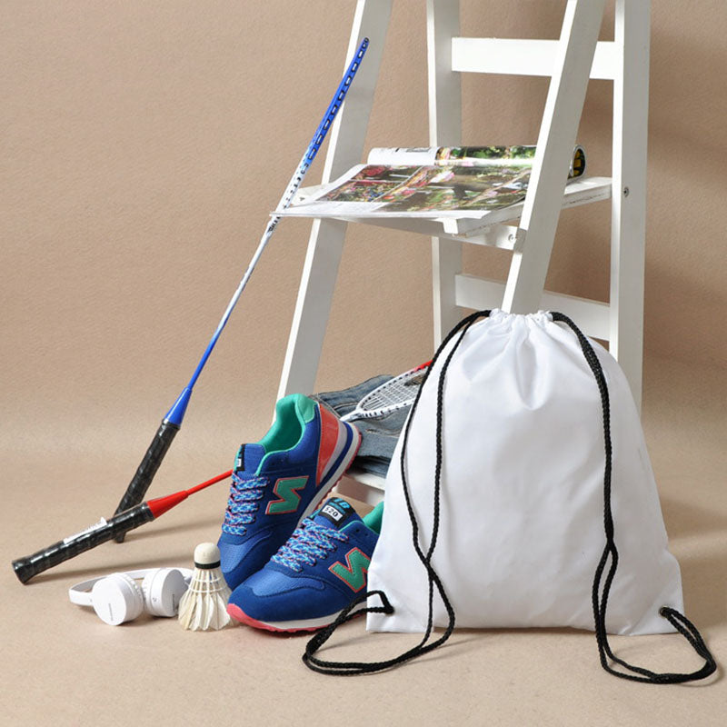 Costbuys  Gym Storage Bag Nylon Sports Drawstring Belt Riding Backpack Shoes Container Bag Clothes Organizer Waterproof - White