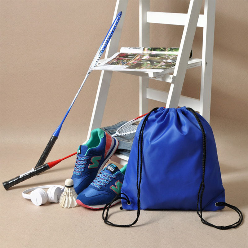 Costbuys  Gym Storage Bag Nylon Sports Drawstring Belt Riding Backpack Shoes Container Bag Clothes Organizer Waterproof - Blue