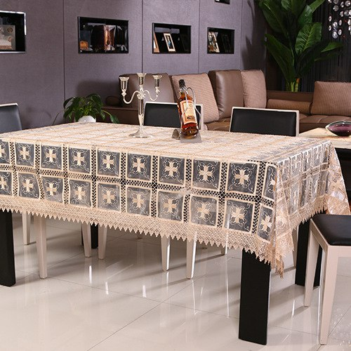 Costbuys  Hollow Tablecloth Hand Lace Hem Luxurious Embroidery European Cover Washable Hollowed Table Cloth for Tea Table - Coff