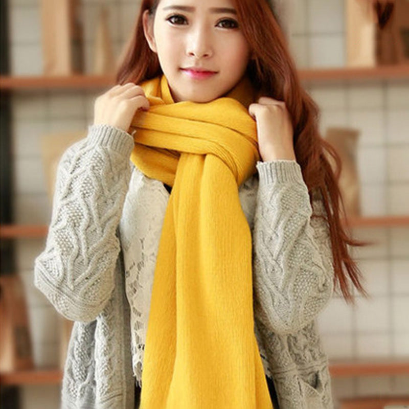Costbuys  Women Men Imitation Cashmere Winter Warm Scarves Soft Long Sacrf Popular Solid Color Lovers Scarves - Yellow