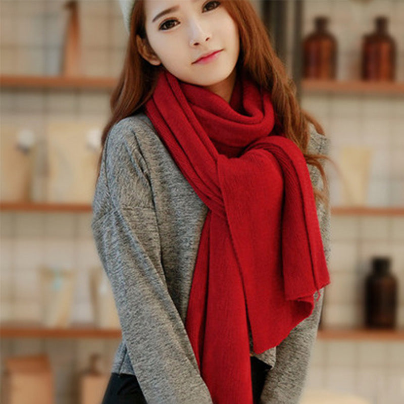 Costbuys  Women Men Imitation Cashmere Winter Warm Scarves Soft Long Sacrf Popular Solid Color Lovers Scarves - Wine Red
