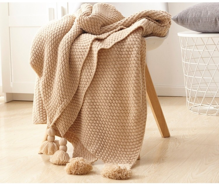 Costbuys  Knitted Blanket for Bed Sofa Plain Simple Air Conditioning Travel Blanket Home Textile Throw Blanket Anti-Pilling Port
